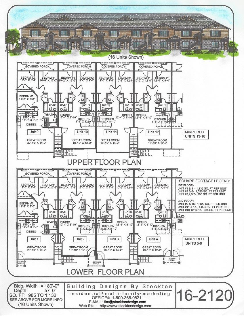 Building designs by stockton plan 16 2120 for Apartment plans 6 plex