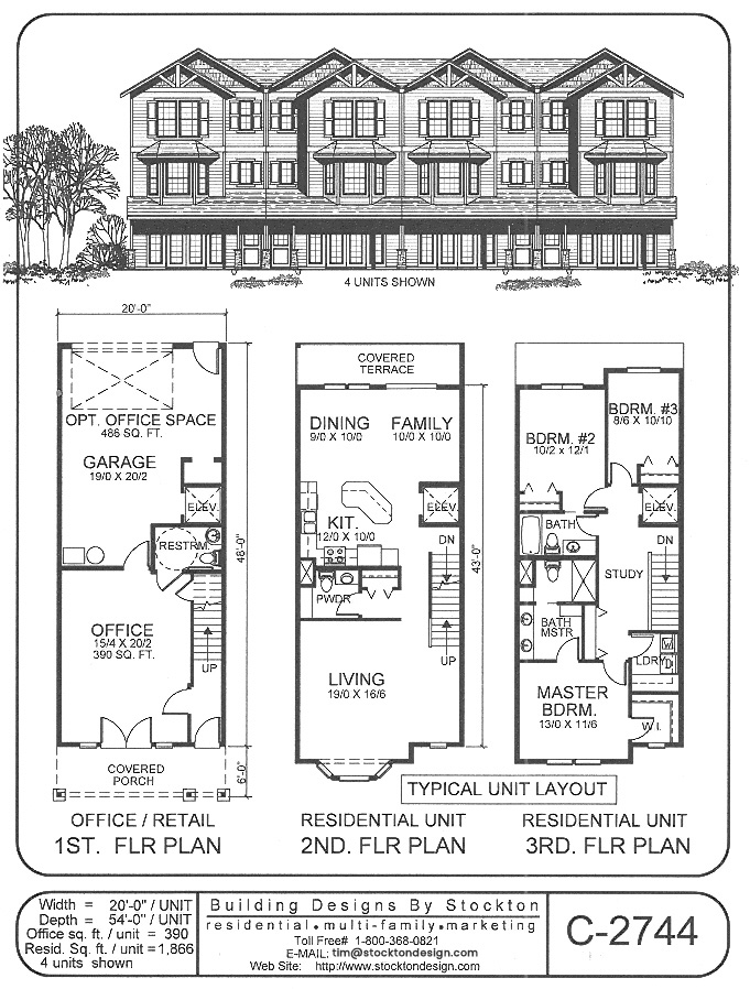 Building designs by stockton plan c 2744 for 2 story commercial building plans
